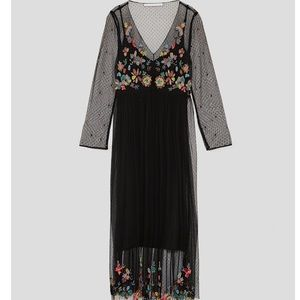 5de35dbe Zara Dresses   Nwt Embroidered Floral Bohemian Mesh Dress   Poshmark